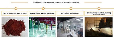 Magnetic material vibrating screen